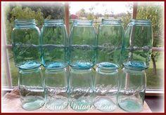 10 Blue Ball Mason Sloped Shoulder Canning Jars by DownVintageLane