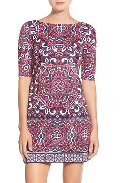 Scooping up this dress from the Nordstrom Anniversary Sale! It features an ornate print, elegant bateau neckline, and elbow sleeves to neatly balance the relaxed silhouette.