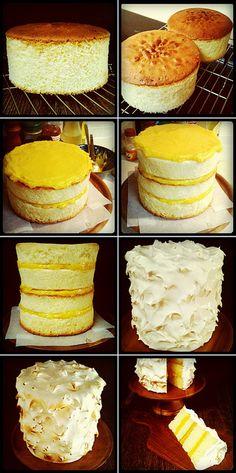 Lemon Layer Cake with Lemon Curd & 7-Minute Frosting #recipe #baking