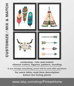 aztec nursery decor, tribal arrows feather teepee skull, aztec wall art, tribal decorations kids wall art, tribal nursery PRINT/CANVAS/DIGI Aztec Nursery, Nursery Prints, Nursery Art, Nursery Decor, Art Wall Kids, Wall Art, Arrow Feather, Tribal Animals, Tribal Arrows