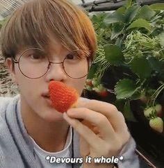 Jin went to a strawberry farm!