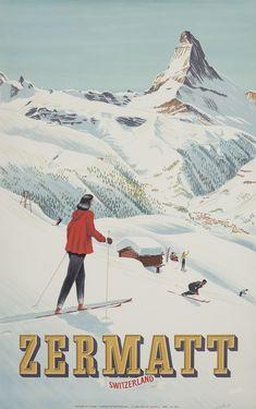 HUGO SCHOL ZERMATT lithograph, 1947 102 x 64 cm. £5,000-7,000 $6,400-8,800 €6,000-8,300 #skiposter #zermatt