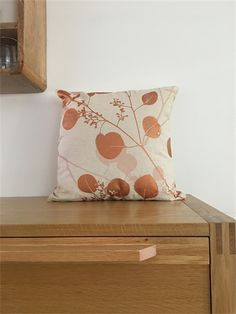 This gorgeous handmade cotton/hemp Decorative Cushion Cover with screen printed Silver Gum in copper tonings