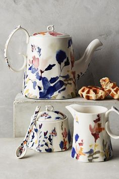 Anthropologie |  Wildflower Study Teapot | Modern Foral