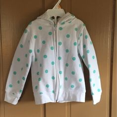 Joe Boxer Other - girl white zipper down sweatshirt. Girl Toddler, Hoodies, Sweatshirts, Mint Green, Boxer, Adidas Jacket, Polka Dots, Kids Shop, Zipper