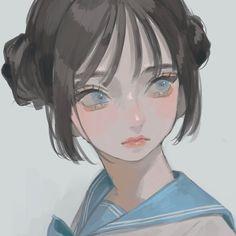 Graphic Illustration, Illustrations, Asian Short Hair, Korean Art, Anime Sketch, Art Reference Poses, Chara, Aesthetic Art, Cute Drawings