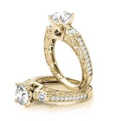 Engagement Ring -Three Stone Diamond Engagement Ring with Filigree & Milligrain Designs in Yellow Gold-ES1744YG