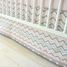 Pink & Gray Chevron Baby Bedding, Pink & Grey Chevron Crib Bedding