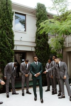 Classic Meets Cool in This Industrial Dallas Wedding at Howell and Dragon Wedding Goals, Wedding Groom, Wedding Attire, Wedding Bride, Dream Wedding, Wedding Ideas, Green Wedding Suit, Wedding Suits For Men, Evergreen Wedding