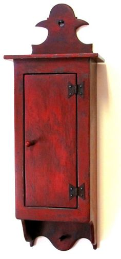 Nice little reproduction wall cabinet in aged red paint. Would love for my wall phone in the kitchen. Colonial Furniture, Primitive Furniture, Primitive Antiques, Country Furniture, Primitive Crafts, Wood Crafts, Painted Furniture, Antique Furniture, Primitive Cabinets