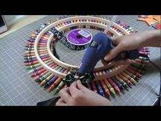 Video: How to make a Crayon Wreath, perfect for back to school! This is going to look great on my classroom door!