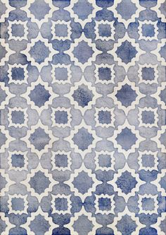 Worn & Faded Navy Denim Moroccan Pattern in grey blue & white Art Print