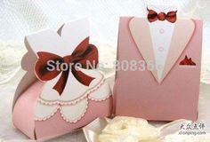 Aliexpress.com: Compre ( 50 pares ) rosa de vestido e smoking favor do papel para doces e decorações de confiança vestido de camisola fornecedores em Top Wedding Supplier-Free Shipping