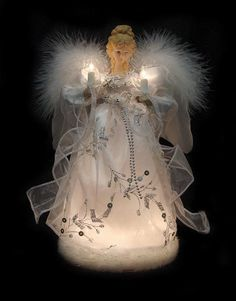 """12"""" Ice Palace Lighted White & Silver Angel Christmas Tree Topper - Clear Lights"""
