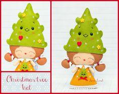 Patrón PDF. Chica elfo con sombreros de la Navidad: por Noialand