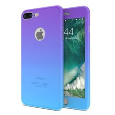 Fashion Gradient Color 360 Degree Full Body Protection Cover Cases For iPhone 6S 7 Plus Case With Glass Screen Protector