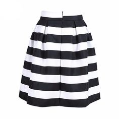 aff2039b5b Skirt 2016 Black White Stripes A Line Midi Back Zipper High Waist Empire  Casual Skater Skirts Women Clothing