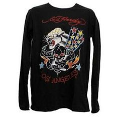 5e82c9410e NWT Ed Hardy by Christian Audigier MEN'S DEATH or GLORY BLACK Long Sleeve  Size M | eBay