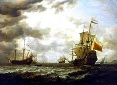 Vista del mar al óleo por Simon Jacobsz De Vlieger.