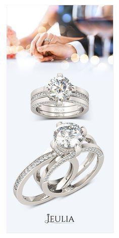 Double Three Stone Round Cut Created White Sapphire Wedding Set