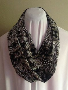 Black Cream and White Printed Extra Long by MarieKayDesigns7, $11.00