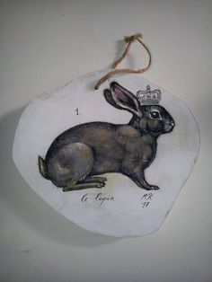 Acrylmalerei - Hasenkönig, Kunst, handgemalt auf Holzscheibe - ein Designerstück von MarionRuhrberg bei DaWanda