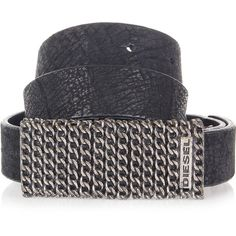 Diesel Logo Printed Buckle BITEXA Leather Belt (49 AUD) ❤ liked on Polyvore featuring accessories, belts, black, leather belt, black buckle belt, genuine leather belt, black belt и diesel belt
