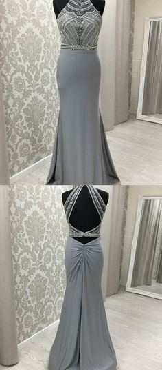 elegant two piece grey long prom dresses, unique beading bodice party dresses, modest open back mermaid evening dresses