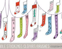 Chalkboard Doodles Christmas Digital Clipart by ColorsonPaper