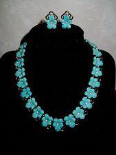 1950's Trifari Aqua Thermoset Flowers Parure Necklace & Earring Set Rhinestones