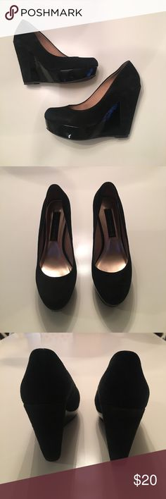 STEVEN by Steve Madden Platform Wedge Great platform wedge with patent leather paneling in size 7.  Worn once in EUC- comes in original box from pet free, smoke free home.  Steven by Steve Madden Shoes Heels