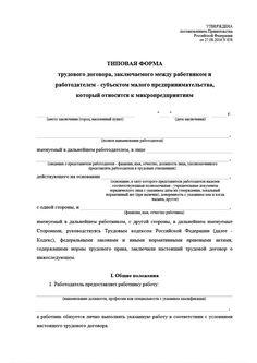 Типовая форма трудового договора для микропредприятий. Первая кадровая справочная система «Система Кадры»