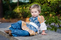Girls 3/4 Sleeve Blue Orange and White Floral Peasant Top
