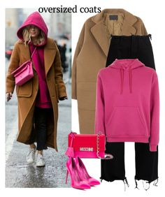 """""""streetstyle oversized coat"""" by katymill ❤ liked on Polyvore featuring Marques'Almeida, Topshop, Moschino and oversizedcoat"""