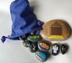 Nativity Scene Figures Story Stones