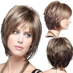 Women's Natural Short Curly Hair Wigs with Bangs Ombre Brown Blonde Cosplay Wig Short Shag Hairstyles, Short Hair Wigs, Long Curly Hair, Short Hairstyles For Women, Hairstyles With Bangs, Wavy Hair, Straight Hairstyles, Curly Short, Chin Length Hairstyles