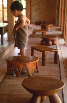 Lovely little wooden stools from Jurgen Lehl, Japan.