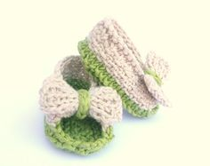 Knitting Pattern BABY Booties Baby Bow Sandals INSTANT by ceradka