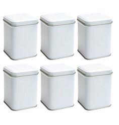 IMPERFECT 6 pcs 4 H White Square Tea Tins with by ILoveYoYoWedding