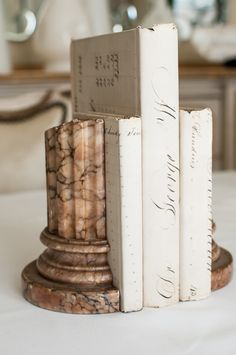 Pair of Alabaster Column Bookends