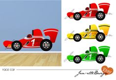 Race Car Fabric Wall Decal by JanetteDesign on Etsy, $80.00