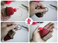 Llavero Cupcake Amigurumi ( 9cm de alto x 7cm de ancho) - Patrón Gratis en Español http://amigurumisfanclub.blogspot.com.es/2014/04/llavero-cupcake-cupcake-key-chain.html