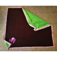 Short Stack Stitches - large adult blanket. Lime green satin back, pink ombré trim, brown fleece, elephant appliqué. #etsymom