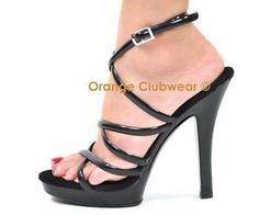 PLEASER Lip 106 Sexy Black Strappy Wrap Around Sandals High Heels ...