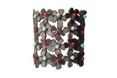 Jenny Rabell Brown Flowers Bracelet with Turquoise/ Red Stones JENNY RABELL. $38.00