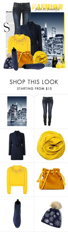 """""""nr 2051 / Yellow & Navy"""" by kornitka ❤ liked on Polyvore featuring Wall Pops!, ARI, Calvin Klein Collection, Miu Miu, Clare V., Sergio Rossi, Maybelline, Frédéric Malle and yellowandnavy"""