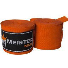 Meister 180 inch Semi-Elastic MMA Hand Wraps (Pair) - Orange