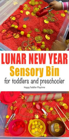 Lunar New Year Sensory Bin - HAPPY TODDLER PLAYTIME This Lunar New Year sensory bin is a fun way to celebrate the new year with your toddler. There are so many ways to play with this bright sensory tub! Sensory Activities, Sensory Play, Infant Activities, Activities For Kids, Sensory Tubs, Sensory Diet, Stem Projects For Kids, Art Projects, Red Pom Poms