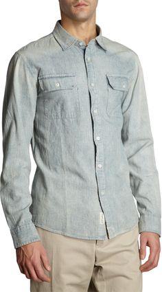 Michael Kors - Blue Bleached Chambray Shirt