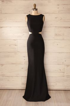 Vallata - Black waist cut-outs fitted gown
